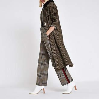 River Island Brown check faux fur knit coat