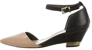 Tory Burch Tory Burch Leather Pointed-Toe Wedges