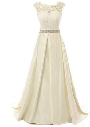 JAEDEN Vintage Wedding Dress for Bride Lace Bridal Gown Open Back Cap Sleeve