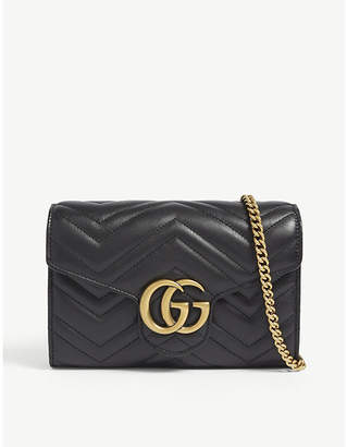 Gucci GG Marmont leather wallet on chain