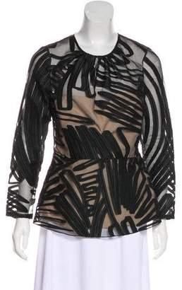 Lela Rose Textured Long Sleeve Blouse