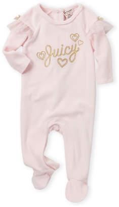 Juicy Couture Newborn/Infant Girls) Velour Ruffle Logo Footie