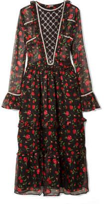 Dodo Bar Or - Crystal-embellished Ruffled Floral-print Chiffon Midi Dress - Black