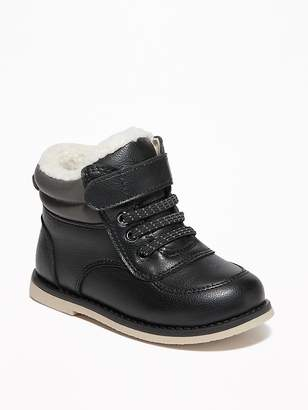 Old Navy Faux-Leather Sherpa-Lined Hiking Boots for Toddler Boys