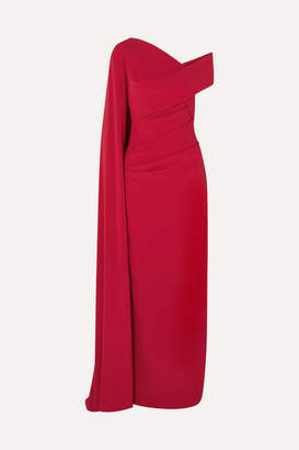 Talbot Runhof Rosedale One-shoulder Cape-effect Ruched Stretch-crepe Gown - Red