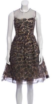 Oscar de la Renta Embellished Midi Dress