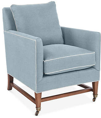 Brentwood Club Chair - Light Blue Linen - Mark D. Sikes