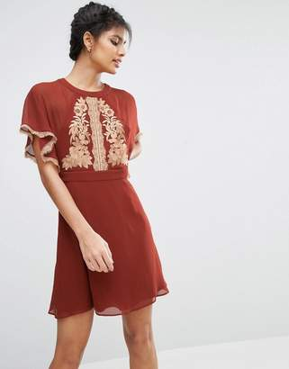 ASOS Embroidered Skater Dress With Open Back $68 thestylecure.com