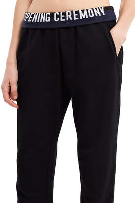 Opening Ceremony Looped Back Terry Black Elastic Logo Sweatpants