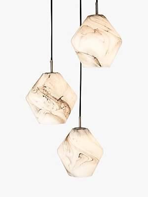 John Lewis & Partners Ada 3 Pendant Ceiling Light, White/Grey