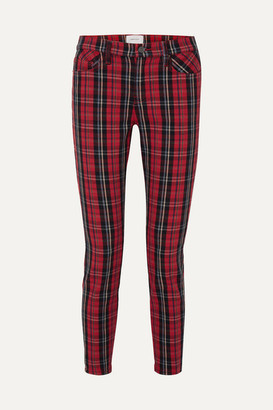 Current/Elliott The Stiletto Tartan Mid-rise Skinny Jeans