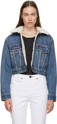 Levi's Denim Cropped Sherpa Jacket