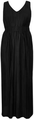 River Island Womens Black Curve Jersey Pleated Maxi Dress - Black