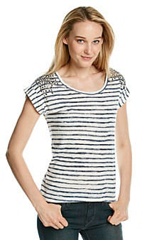 Vince Camuto Painter Stripe Tee with Shoulder Studs