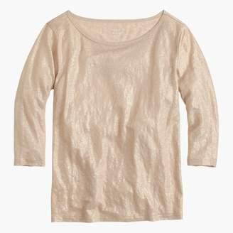 J.Crew Linen boatneck T-shirt in metallic