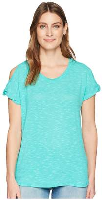 Tribal Slub Knit Twisted Cap Sleeve Top Women's T Shirt