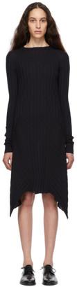 Helmut Lang Navy Fine Wool Rib Dress