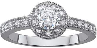 Generic 1.04 Carat T.G.W. CZ Sterling Silver Grace Halo Solitaire Engagement Ring
