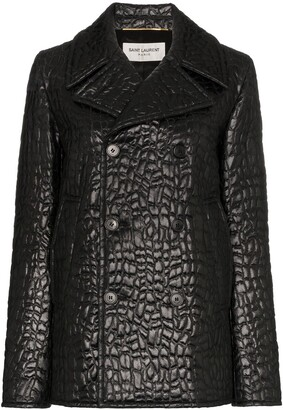 Saint Laurent lacquered crocodile-style pea coat
