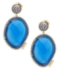 Freida Rothman Baroque Blues Opulence Blue Agate & Gold Drop Earrings