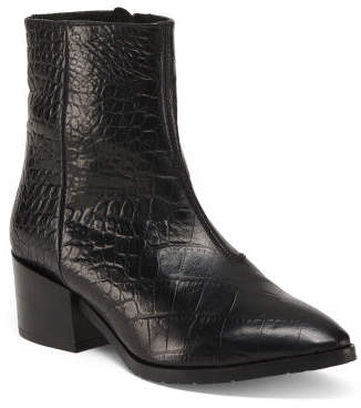 Made In Italy Leather Pointy Toe Croc Boots