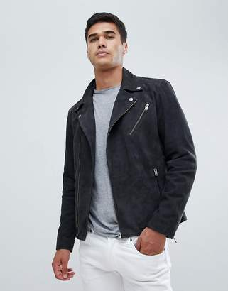 Selected Nubuck Leather Biker Jacket