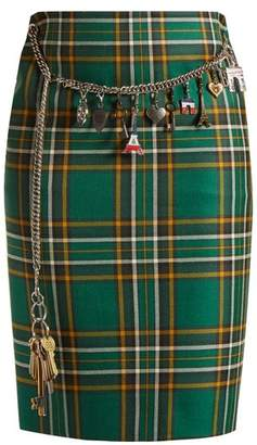 Balenciaga Tartan chain-belt pencil skirt