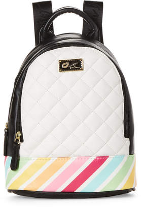 Betsey Johnson Black & White Jaz Quilted Rainbow Mini Backpack