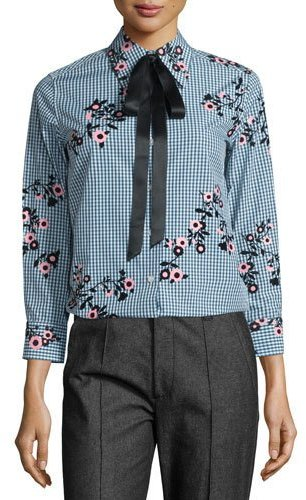 Marc JacobsMarc Jacobs Floral Gingham Tie-Neck Blouse, Green/Multi