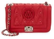 Mario Valentino Beatriz Sauvage Rockstud Chevron Leather Crossbody Bag