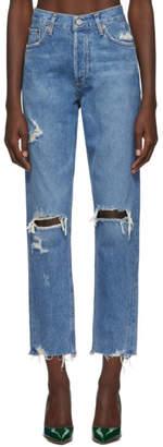 A Gold E Agolde Blue Organic Jamie Hi Rise Classic Jeans