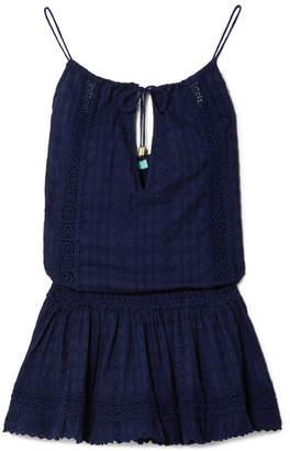 Melissa Odabash Chelsea Crochet-trimmed Embroidered Cotton-voile Mini Dress