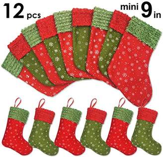 "Ivenf 12 Pack 9"" Snowflake Mini Christmas Stockings Gift Card Bags Holders"