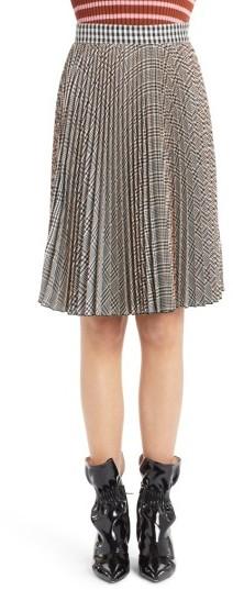 Women's Msgm Plaid Pleated Skirt