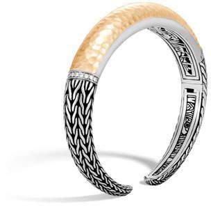 John Hardy Classic Chain Hammered 18K & Silver Bracelet with Diamonds