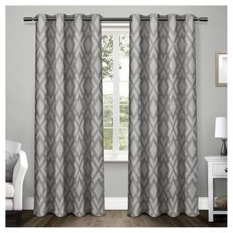 Exclusive Home Easton Heavyweight Geometric Jacquard Linen with Woven Blackout Liner Grommet Top Window Curtain Panel Pair - Exclusive Home