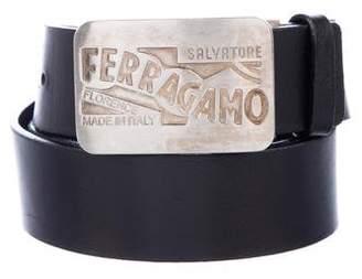 Salvatore Ferragamo Logo Plate Buckle Leather Belt
