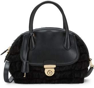 Salvatore Ferragamo Leather & Rabbit Fur Shoulder Bag