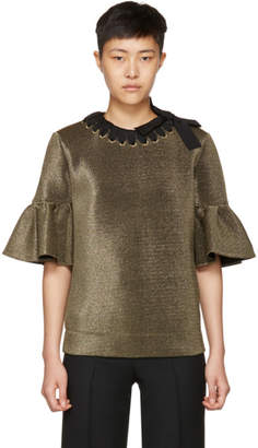 Fendi Gold Scuba Lurex Ruffle Blouse