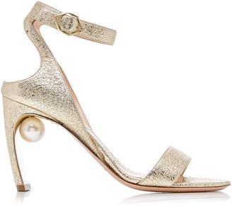 Nicholas Kirkwood Lola Pearl-Embellished Metallic Leather Sandals