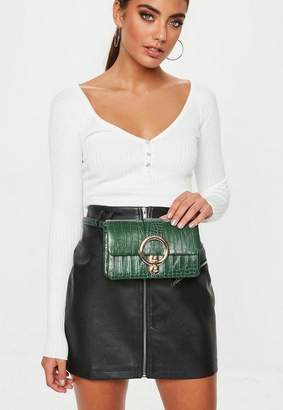 Missguided Green Metal Ring Croc Fanny Pack