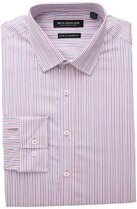 Nick Graham Multi Stripe Stretch Shirt Men's Long Sleeve Button Up
