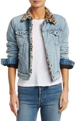 RE/DONE Leopard-Print Faux Fur Collar Jean Jacket