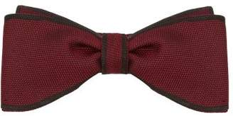 Title Of Work - Contrast Edge Silk Pique Bow Tie - Mens - Red