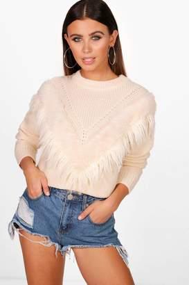 boohoo Petite Elena Faux Fur Trim Oversized Jumper