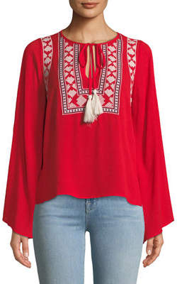 Stellah Embroidered Bell-Sleeve Peasant Blouse