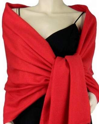 2PLY LONG 78X28 Solid Silk Pashmina Shawl Wrap Stole Cashmere Wool Silk Scarf (White)
