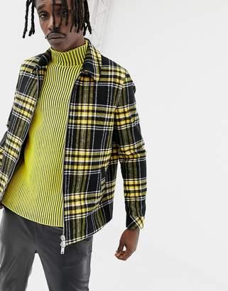 Asos DESIGN wool mix zip through jacket in yellow check