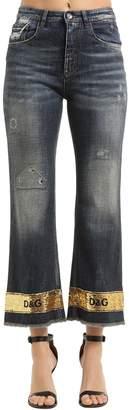 Dolce & Gabbana Sequined Hem Washed Cotton Denim Jeans