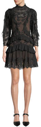 Rebecca Taylor Mock-Neck Sheer Floral-Embroidered Dress w/ Lace & Ruffles